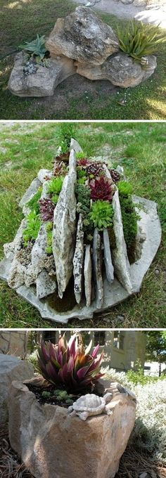 24 Creative Garden Container Ideas |  Use rocks as planters!