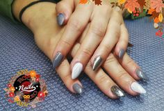 Acrylic nails grey matte effect, stones and marble effect