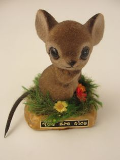 Vintage Flocked Mouse Figurine by Josef by WhileSJsSleeping