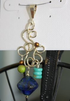 Handmade lampworked glass bead, magnesite, turquoise,  freshwater pearl & sterling silver pendant by Susan Pauls. (sold)