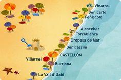 Costa del Azahar. Localización. Travel, Europe Travel, Places To Go, Vinaros, Castellon, Alicante, Map, Summer Plans, Coast