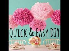Tutorial Diy video on how to make tissue pom poms for room decoration or party decorations! If this tutorial helped please LIKE so i can know your opinion! Tissue Pom Poms, Paper Pom Poms, Craft Stick Crafts, Easy Crafts, How To Make A Pom Pom, Easter Bunny Decorations, Easter Crafts For Kids, Diy Paper, Tissue Paper
