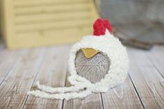 newborn hen hat .. newborn photo prop .. summer hat .. bonnet .. photography .. farm hat .. boy .. girl .. chicken .. baby hat .. baby chick