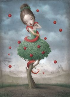 Eve and the serpent with the apple. by Nicoletta Beccoli