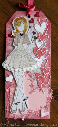 I got my first Prima Dolls last year. I have 11 dolls and decided to start by creating a tag for each month. This is my February/Valentine's Day Doll