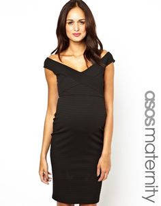 $31.05 - ASOS Maternity Midi Body-Conscious Dress With Bardot Neckline