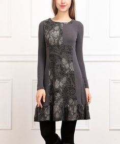 Loving this Charcoal Paisley Patchwork Shift Dress on #zulily! #zulilyfinds Border print sewing idea