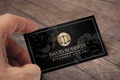 Attorney Lawyer Simple Framed Elegant Black Floral Business Card