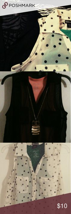 Bundle!!! Wetseal 2 sheer blouses Black sleeveless button down coloured. The other black and white polkadot sleeveless!!! Both are sheer . Both are waist length. $10 for both Wet Seal Tops Button Down Shirts
