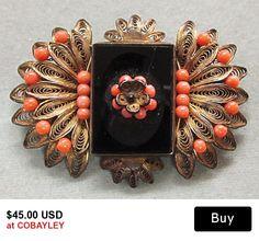 Victorian Black Coral Bead Filigree Pin