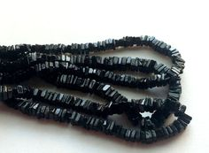 Black Spinel Square Heishi Cut Beads Black Spinel by gemsforjewels