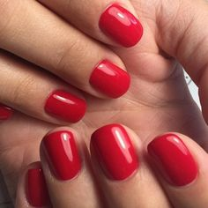 Like a juicy red candy apple this color is a classic red. Nails pictured done by is pure gel that is odorless and solvent free. Because it is not mixed with polish like some other brands, it offers more durability without. Shellac Nails, Red Nails, Hair And Nails, Acrylic Nails, Nail Polishes, Gel Manicures, Cute Nail Polish, Nail Polish Colors, Cute Nails