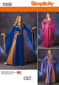 dress like an elegant european maiden from high medieval ages. full skirted gown can have appliques and trim, a faux wrap front or front closures and has bell sleeves. also included are two belt patterns.