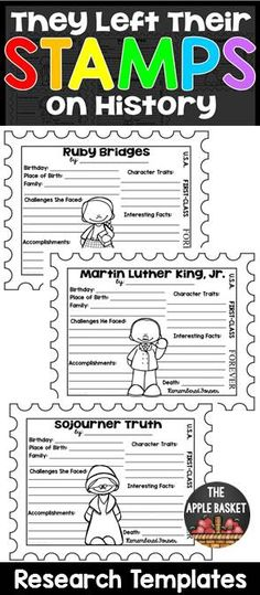 Black History Research Templates for Grades 3-5 (They Left Their STAMPS on History)