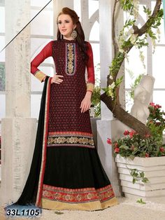 Get your best looks of all time with this awesome Red & Black Color Designer Lehenga Choli! Beautiful Zari work in the Lehenga & Top makes it look astonishing.