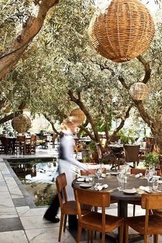 SoHo House, Rooftop restaurant in California by margaret. Create a canopy out of arched trellises.