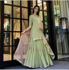 Designer Yellow Green Georgette Sharara Suit – pictures world Indian Wedding Outfits, Bridal Outfits, Indian Outfits, Bridal Dresses, Indian Clothes, Indian Weddings, Pakistani Dress Design, Pakistani Dresses, Indian Dresses