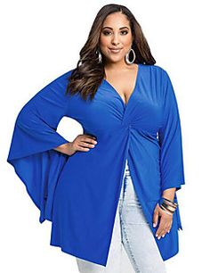 Women's+Casual/Daily+Plus+Size+/+Sexy+Ruched+Split+Elasticity+Summer+T-shirt,Solid+Deep+V+Long+Sleeve+Blue+–+USD+$+12.99
