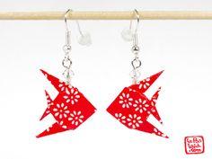 Boucles d'oreilles #poissons en #origami.... pour les faire durcir ??? du mode podge ?? À essayer