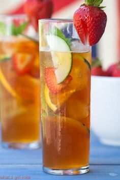 Watching Wimbledon? How about trying the very British Pimm's Cup? Perfectly light and refreshing for summer!