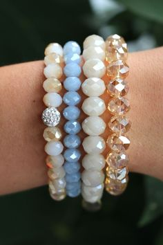 We love Erimish! This great stack contains a mix of blues and nudes! $24 for all four bracelets!