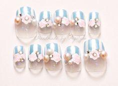 Lolita fairy kei fake nails pastel color Japanese nail by Aya1gou, $18.50