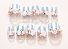 Lolita fairy kei fake nails pastel color Japanese nail by Aya1gou, $18.50
