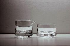 Creamer and Sugar Bowl String of Pearls Helminauha Timo Sarpaneva Iittala Glass #Iittala