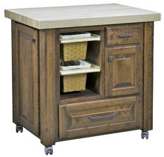 "Amish Granny's Choice Kitchen Island Built in spice rack, sliding baskets and a 2 1/4"" oiled maple top. Enjoy baking and making the perfect pie at Granny's!"