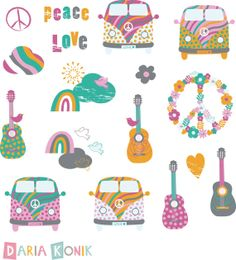 Love and Peace Clip Art Set-summer of love clipart, buses, guitars, clouds… Paz Hippie, Hippie Chic, My Summer Of Love, Guitar Party, Hippie Party, Doodle Doo, Graffiti, Bottle Cap Images, Love Drawings