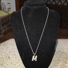 M necklace Silver with diamonds Jewelry Necklaces