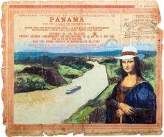 Mona Lisa con traje de mola cruzando el Canal de Panamá por Idielgo Perez