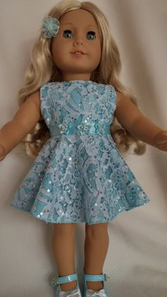 18 inch doll clothes - #308 - Aqua Lace Dress made to fit the American Girl Doll by susiestitchit on Etsy