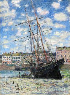 (via 1881 Claude Monet Boat lying at low tide(Fuji Art Museum)(80 x 60