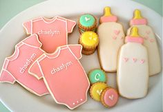 Baby Shower Cookie Inspiration - Bake sugar cookies and decorate cookie like this in royal icing