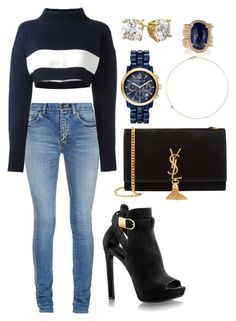"""Untitled #1577"" by cecilia-rebecca-stagrum-buch on Polyvore featuring Yves Saint Laurent, Jil Sander Navy, Michael Kors, Jacquie Aiche and Jack Vartanian"