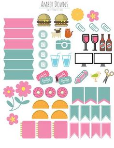 Planner stickers pink and teal Amber Downs