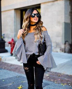 """Maria Vizuete (Mia Mia Mine) on Instagram: """"Bell sleeve obsessed. Sharing my fave tops under $50 today on MiaMiaMine.com. http://liketk.it/2plGY @liketoknow.it #liketkit #chicwish #wiw"""""""