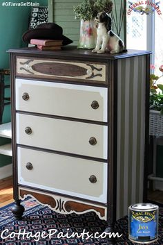 """Cottage Paints, http://cottagepaints.com/,  used General Finishes Java Gel Stain to give this dresser a one of a kind look.  Watch GF's video """"How to Prep Existing Finishes"""" http://youtu.be/vdS0X_TgpMI and get started on your own project. #generalfinishes #javagel"""