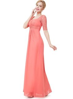 e51c7fee03e6 Ever-Pretty Half Sleeve Lace Bridesmaid Prom Coral Gowns Evening Dresses  08038