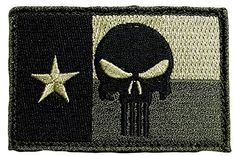 "[Single Count] Custom, Cool & Awesome {3"" x 2"" Inches} Rectangle Patriotic US Military US Texas State Flag Punisher Skeleton Skull Badge (Tactical Type) Velcro Patch ""Green & Black"" mySimple Products"