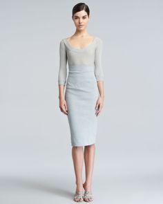 Donna Karan - 浅蓝高腰半身裙 | Neiman Marcus尼曼