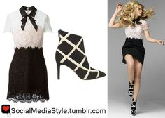 Buy Jennifer Morrison's Alexa Interview Black and White Lace Dress and Checkered Booties, here!