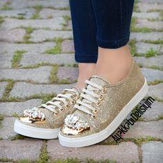 Dore Taşlı Spor Ayakkabı #gold #shoes