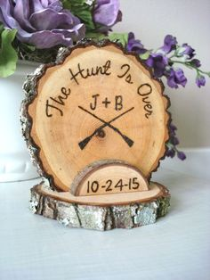 Rustic Wedding Cake Topper Hunting Hunt Wood Burned Customized Romantic