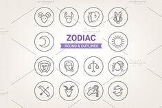 Circle zodiac icons by miumiu on @creativemarket