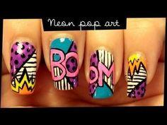 Neon Pop Art - #popart #neon #nailart #nailtutorial #neonpopart - Love beauty? Go to bellashoot.com for beauty inspiration!