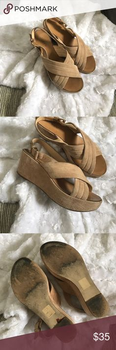 J.Crew wedges/pumps Adorable and suede like material. Have tons of love left to give. In great used condition. 💗 J. Crew Shoes