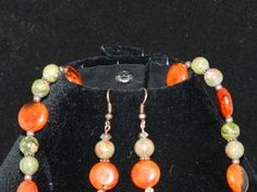 Zoisite and Jasper Necklace and Earring Set by KarinsForgottenTreas on Etsy