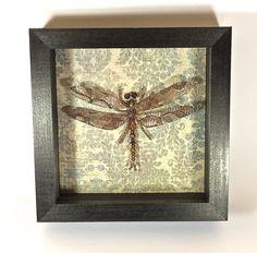 "Beaded Dragonfly Coppery Purple Shadowbox Specimen - ""Erythemus aeneus"""